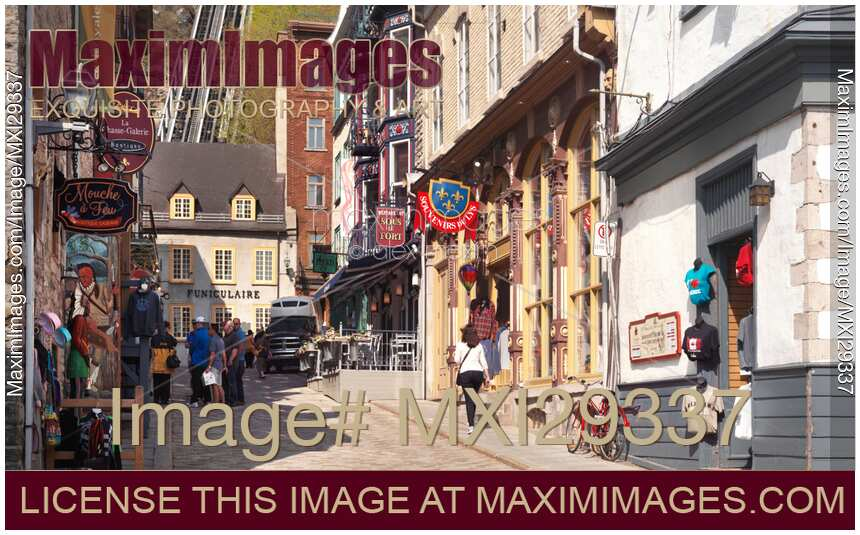 Stock Photo Shops And Restaurants On Rue Sous Le Fort Historic