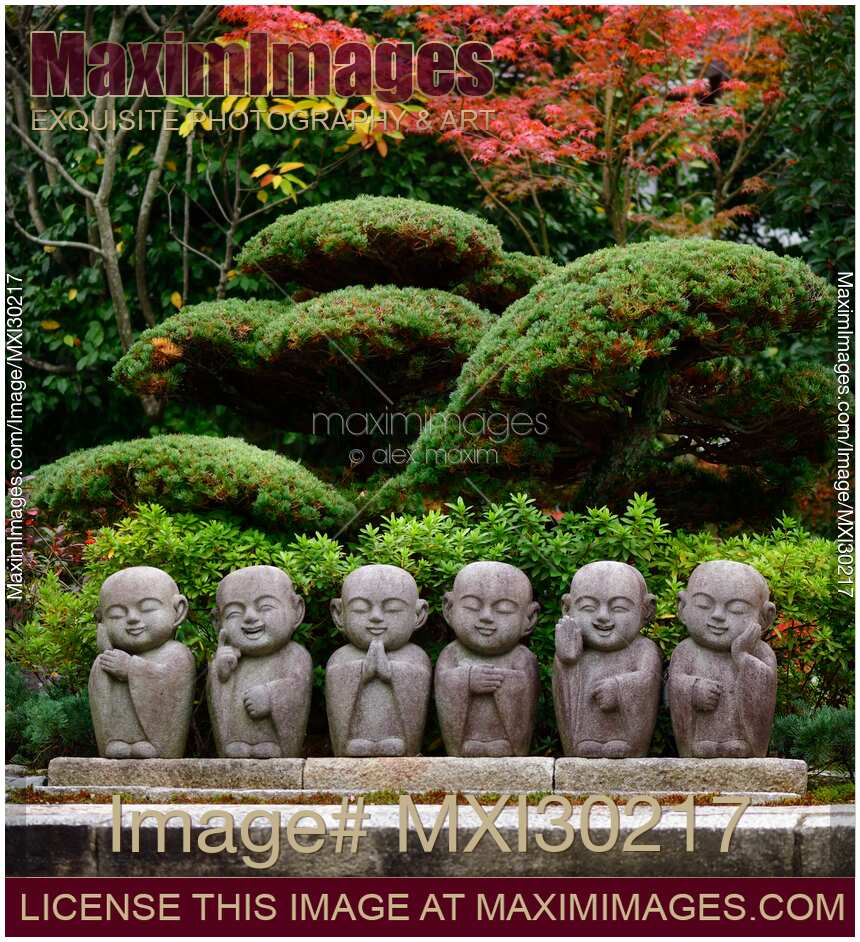Stock Photo Of Six Cute Little Monks Buddha Stone Statues In Japanese Garden