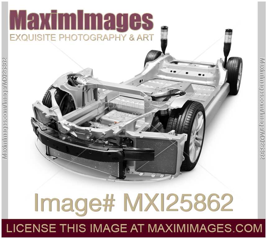 Chis Base Frame Of 2017 Tesla Model S Luxury Electric Car Isolated On White Background With Clipping Path