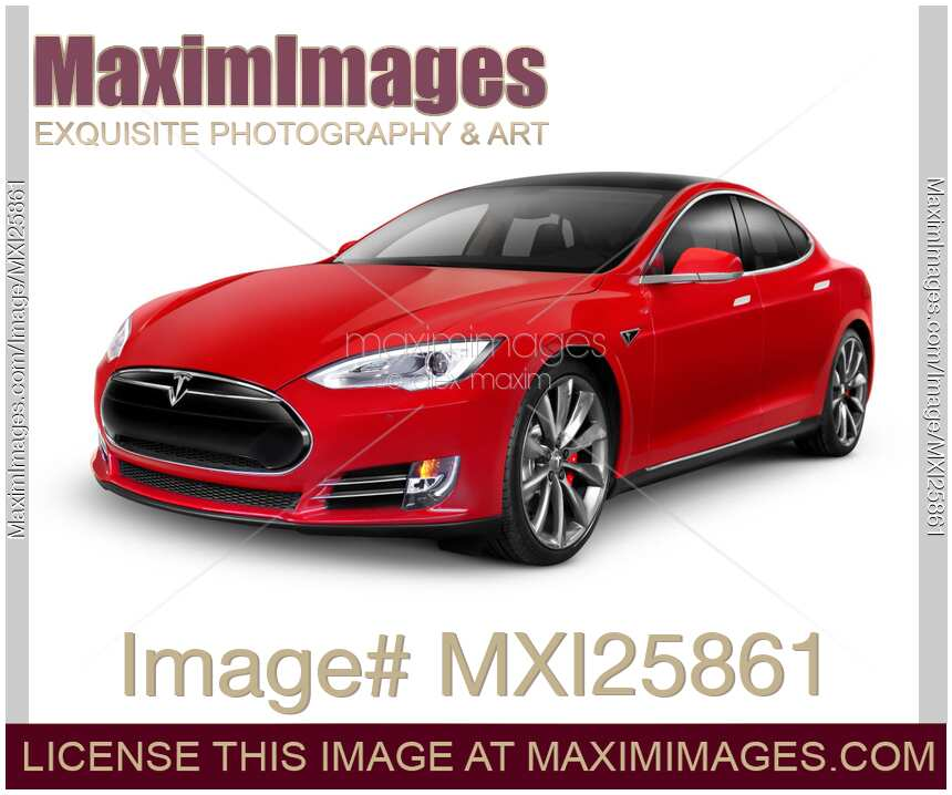 stock photo tesla model s red luxury electric car maximimages. Black Bedroom Furniture Sets. Home Design Ideas