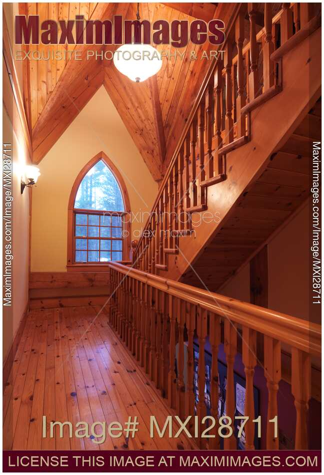 Stock Photo Of Timber Frame Cottage Style Canadian House Wooden Staircase And Gothic Arched Window