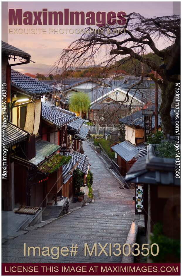 Stock photo of Yasaka dori historic Kyoto street empty and quiet in early morning tranquil scenery