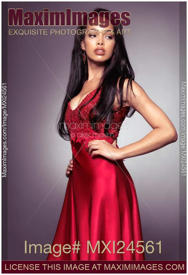 Stock Photo Young Black Woman Wearing Red Dress Maximimages