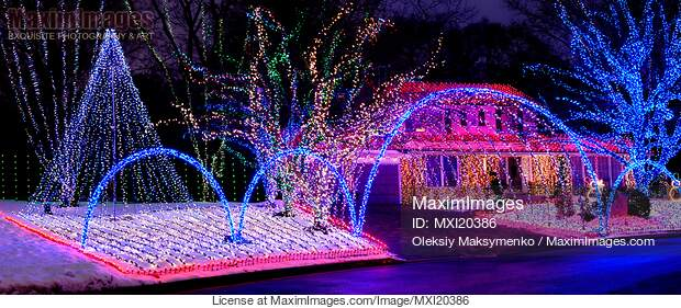 Colorful Christmas Lights On House.Stock Photo Of House Decorated With Christmas Lights Image Mxi20386 At Maximimages Com