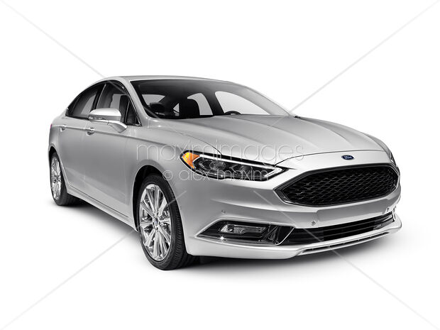 Silver 2017 Ford Fusion Mid Size Sedan Car Isolated On White Background With Clipping Path