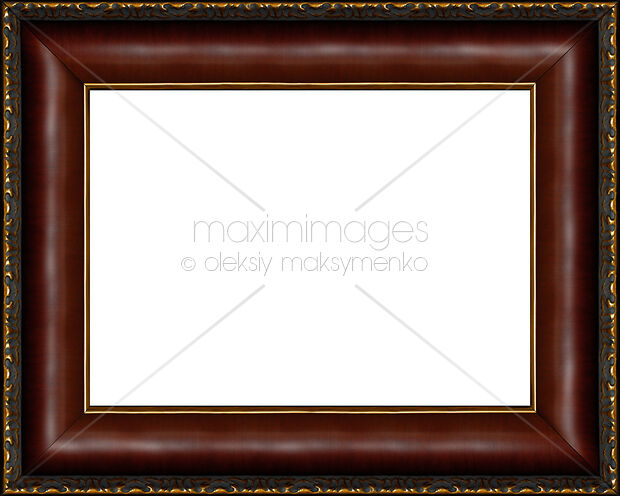 Stock photo: Antique dark wooden picture frame isolated ...
