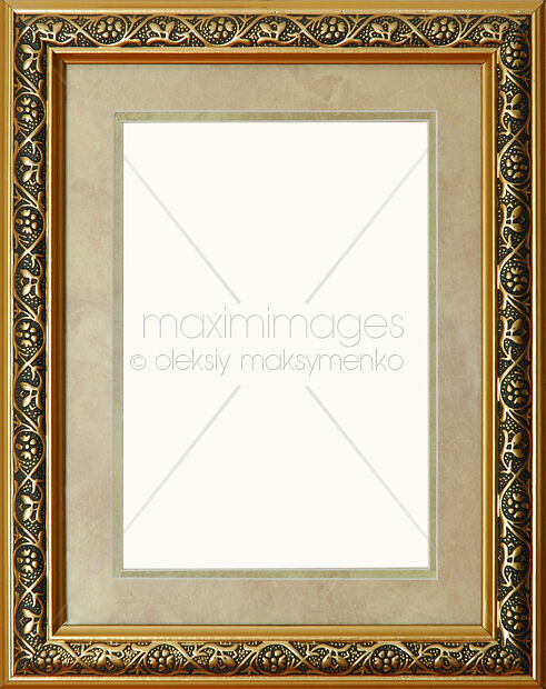 Stock photo: Antique rustic golden picture frame with mat ...