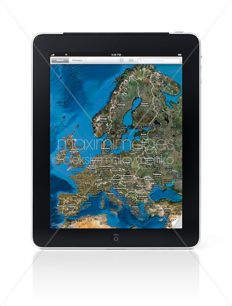 Stock Photo of Apple iPad 3G Tablet Displaying Google Maps Image MXI22216  at MaximImages com