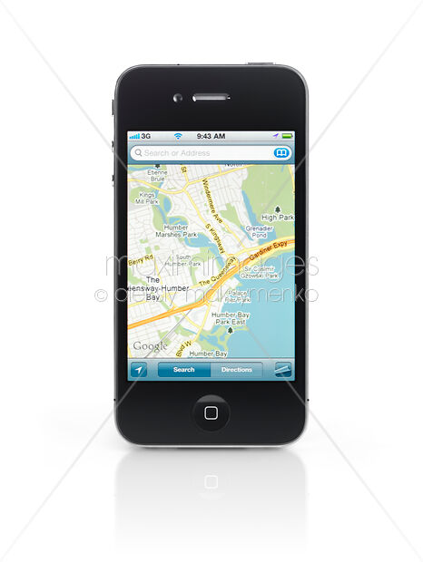 Stock Photo of Apple iPhone 4 Smartphone Running Google Maps Image MXI22412  at MaximImages com