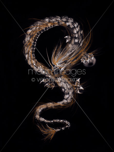 Artistic illustration of a fire dragon protecting the pearl of wisdom on black