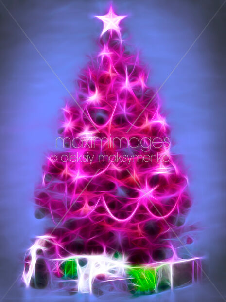 Stock Ilration Of Artistic Bright Pink Christmas Tree