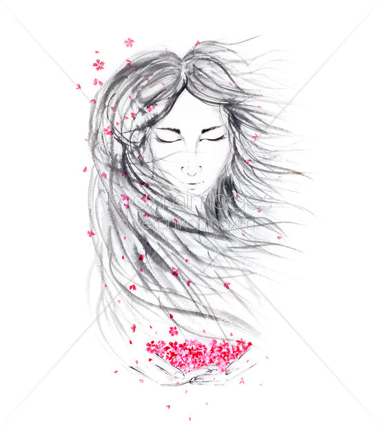This Rights-Managed stock illustration of Asian woman painted face portrait with long wild hair and pink sakura blossoms in her hands by Veronika Maxim, is available for commercial, editorial or personal usage. You can buy a license of this image at MaximImages.com.