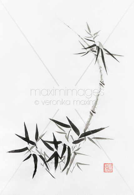 stock illustration bamboo stalk with young leaves sumi e japanese