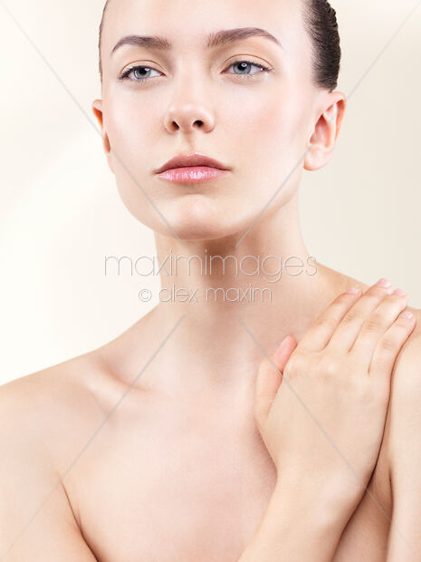 Beauty portrait of young beautiful woman with clean natural look