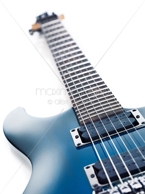 Stock Photo Blue Ibanez Electric Guitar Closeup Isolated On White