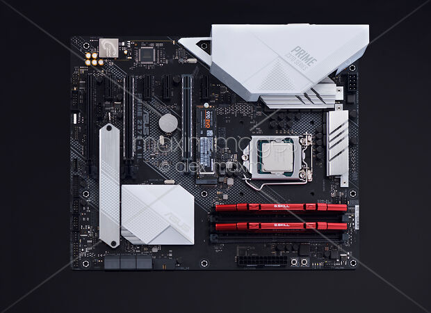 Stock Photo of Computer motherboard ASUS Prime Z370-A with Intel CPU V-NAND  M2 SSD drive and    Image MXI31328 at MaximImages com