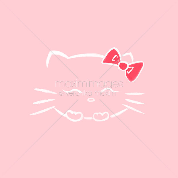 Cute smiling Hello kitty with a bow, Japanese kawaii cartoon cat character inspired sumi-e illustration white on soft baby pink background.