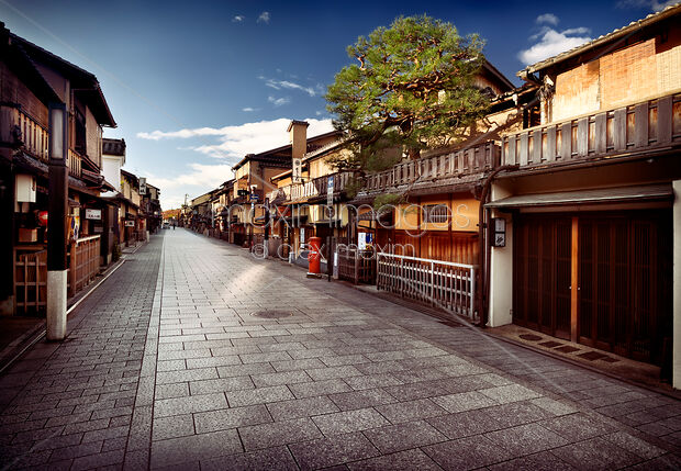 This Rights-Managed stock photo of Empty Hanamikoji Dori street in Gion district in the morning Kyoto Japan by Alex Maxim, is available for commercial, editorial or personal usage. You can buy a license of this image at MaximImages.com.