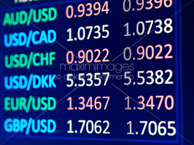 Forex Currency Exchange Rates Table On Electronic Display Closeup