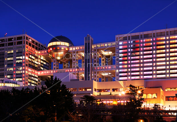 Stock Photo of Fuji TV building with colotrful lights at night in Odaiba  Tokyo Image MXI26150 at MaximImages com