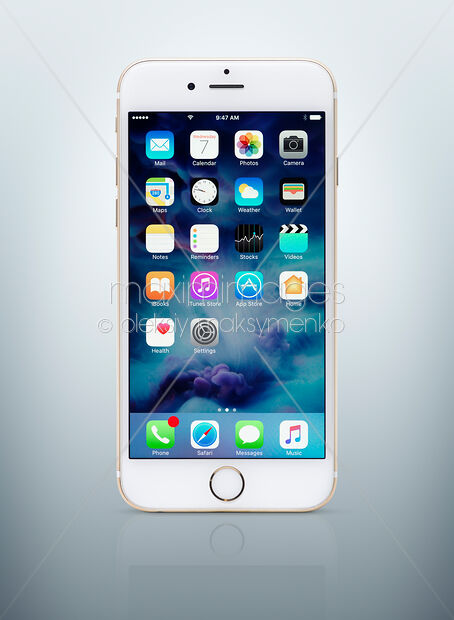 ed6242753e0e37 Gold white Apple iPhone 6 6s with desktop icons on its display isolated on  light blue background with clipping path