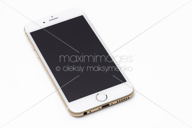 new product e1d67 0210f Stock Photo of Gold Apple iPhone 6 6s with blank display isolated on white  Image MXI29527 at MaximImages.com