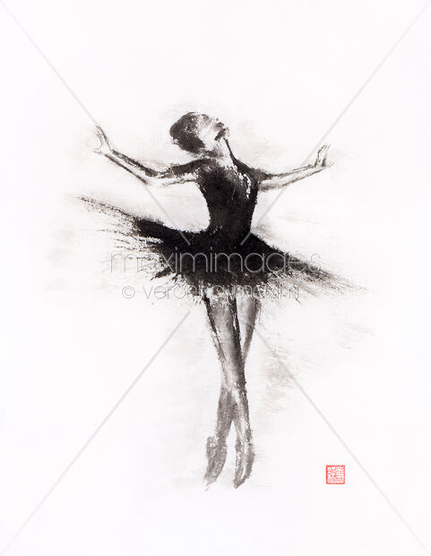 Stock Illustration Of Graceful Ballerina Dancing Abstract Black And White Sumi E Ink Painting Image Mxi31632 At Maximimages Com