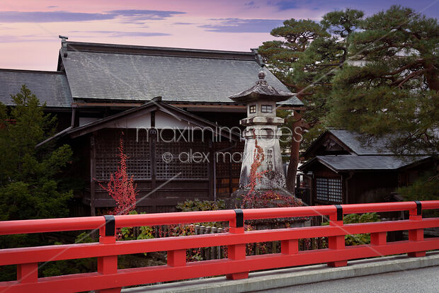 This Rights-Managed stock photo of Hie Shinto Shrine and a red bridge artistic scenery in Takayama by Alex Maxim, is available for commercial, editorial or personal usage. You can buy a license of this image at MaximImages.com.