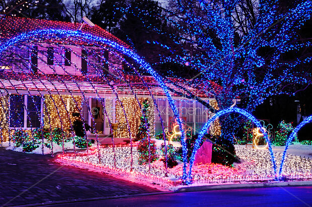 Colorful Christmas Lights On House.Stock Photo Of House Decorated With Colorful Christmas Lights Image Mxi20385 At Maximimages Com