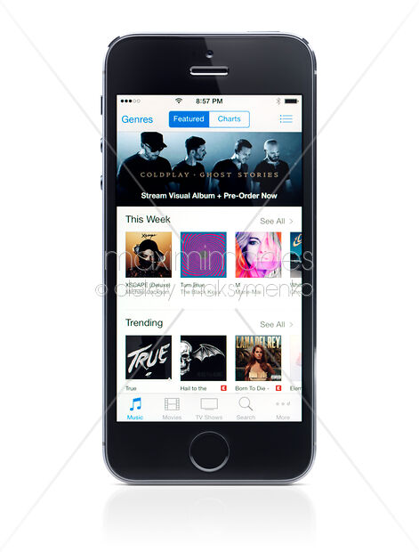 Stock Photo of iPhone 5s with iTunes store on display Image MXI26547 at  MaximImages com