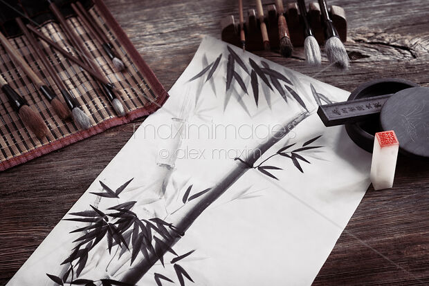 This Rights-Managed stock photo of Japanese sumi-e painting and artist tools ink and brushes artistic still life by Alex Maxim, is available for commercial, editorial or personal usage. You can buy a license of this image at MaximImages.com.
