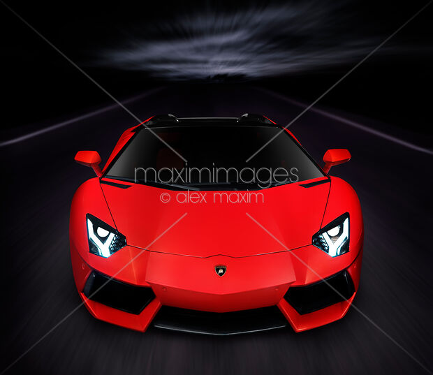 Lamborghini Aventador LP 700-4 Roadster sports car on the road