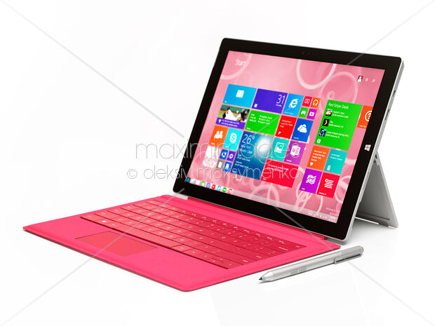 Stock Photo of Microsoft Surface Pro 3 tablet with pink keyboard Image  MXI27247 at MaximImages com