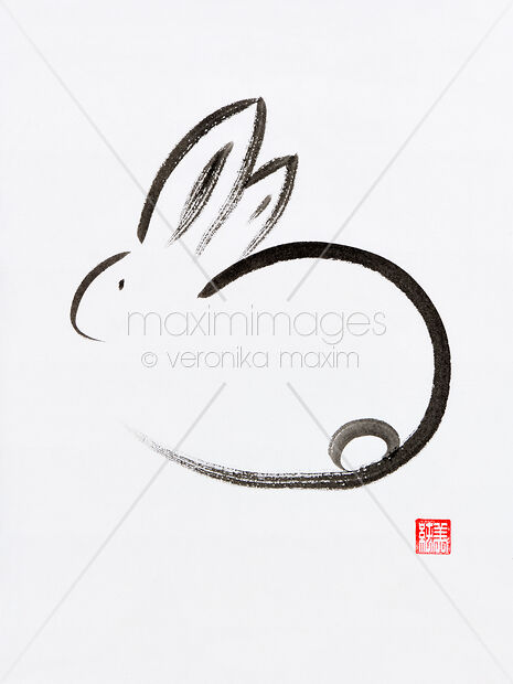 stock illustration minimalistic cute bunny japanese zen sumi e