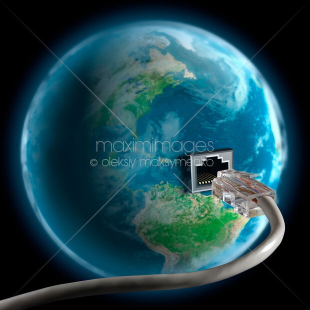 Stock illustration: Network cable plug in Earth globe Internet ...
