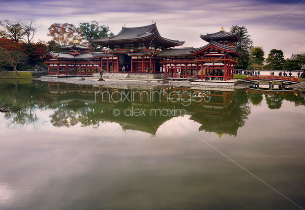 This Rights-Managed stock photo of Phoenix Hall Hoo-do of Byodoin Buddhist temple in a peaceful morning scenery Byodoin Kyoto Prefecture by Alex Maxim, is available for commercial, editorial or personal usage. You can buy a license of this image at MaximImages.com.