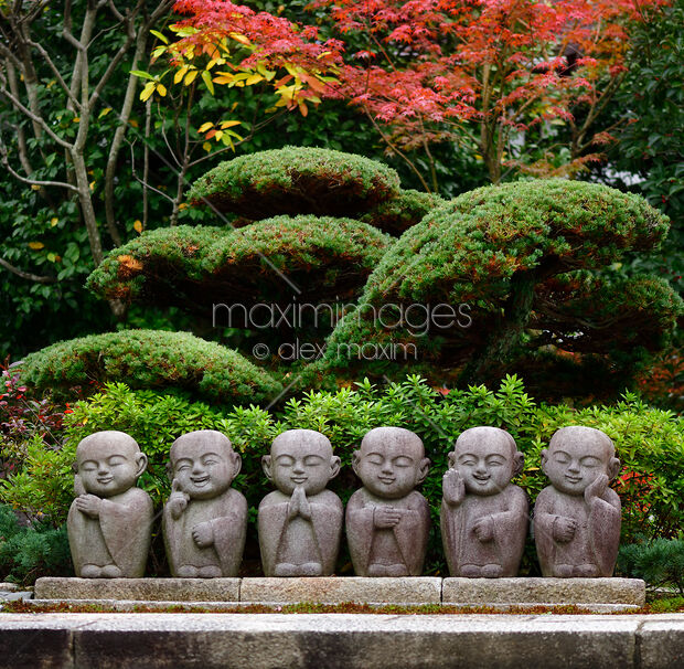 Stock photo: Six cute little monks Buddha stone statues in Japanese ...