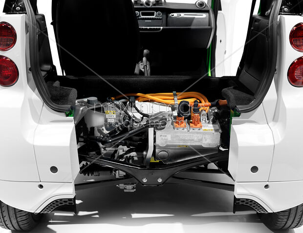 2017 Smart Fortwo Electric Drive Open From Behind Showing The Li Ion Battery And Motor Closeup Maximimages Stock Photo