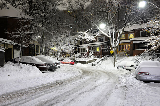 Stock Photo Of Snow Covered Street At Night Image Mxi24930 At Maximimages Com