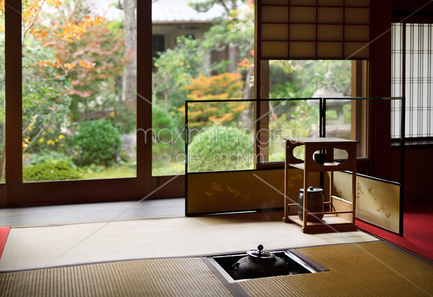 Stock Photo Of Tea Ceremony Room With A Steaming Iron Kettle Kama In A Traditional Japanese Image Mxi31575 At Maximimagescom
