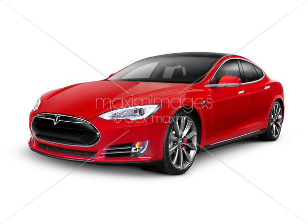Tesla Model S red luxury electric car
