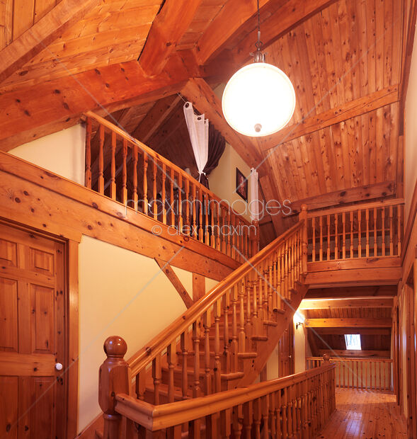 Timber Staircase Price: Photo Of Timber Frame Cottage Style Canadian House Wooden