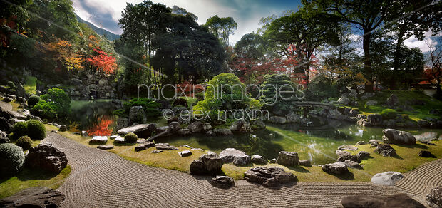 Stock Photo Of Traditional Japanese Zen Rock Garden With A Pond At Sanboin  Buddhist Temple Daigoji Complex In Kyoto Japan