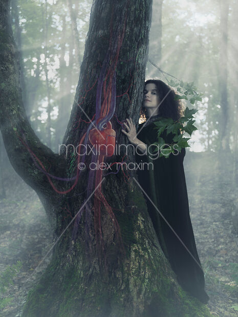 Woman druid listening to heartbeat of the tree