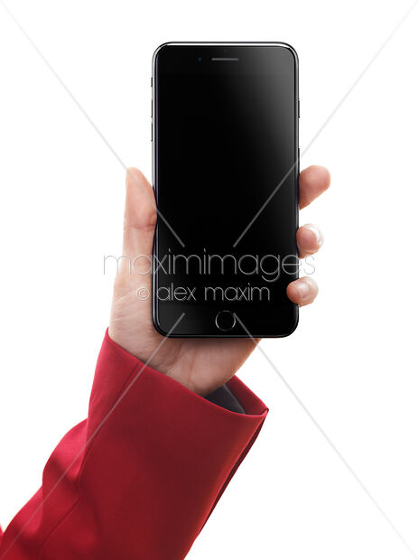 Stock Photo of Woman hand holding Apple iPhone 7 with blank screen Image  MXI28607 at MaximImages com