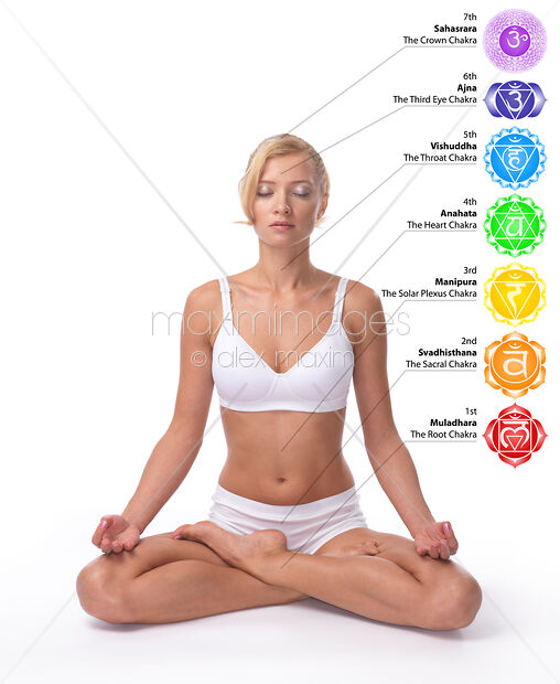 Stock Photo of Woman in meditation pose with Seven Chakras chart on her  body Image MXI21191 at MaximImages com