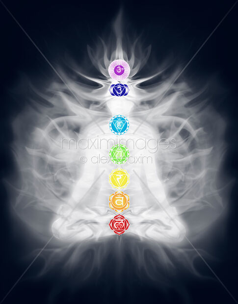 Stock illustration of Woman meditating in lotus pose silhouette with Chakras and energy flow