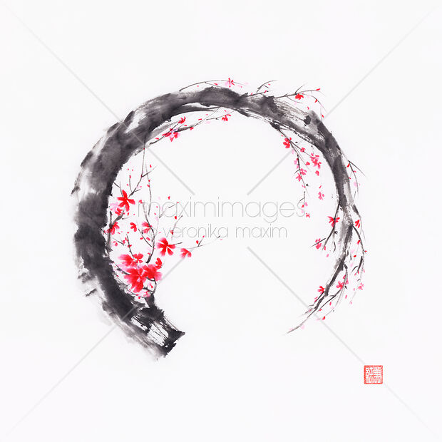 Zen sumi-e conceptual painting of Enso ring as a pink cherry blossom branch