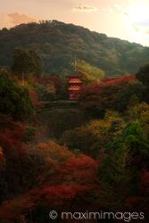 Beautiful autumn scenery of Koyasu pagoda of Kiyomizu-dera temple in Kyoto Japan