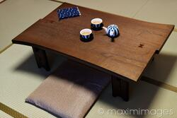 stock photo japanese tea table chabudai with tea on it in a